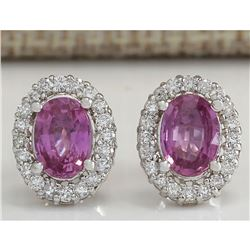 3.10 CTW Natural Pink Sapphire And Diamond Earrings 18K Solid White Gold