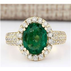 3.46 CTW Natural Emerald And Diamond Ring In 14k Yellow Gold