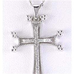 0.25 CTW Natural Cross Diamond Pendant In 18K Solid White Gold