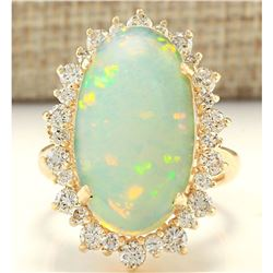 8.29 CTW Natural Opal And Diamond Ring In 18K Yellow Gold
