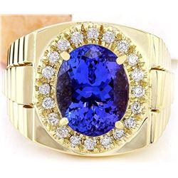 8.06 CTW Natural Tanzanite 18K Solid Yellow Gold Diamond Ring