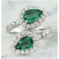 2.40 CTW Emerald 18K White Gold Diamond Ring