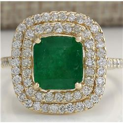 3.50 CTW Natural Emerald And Diamond Ring 14K Solid Yellow Gold
