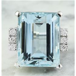 19.61 CTW Aquamarine 18K White Gold Diamond Ring