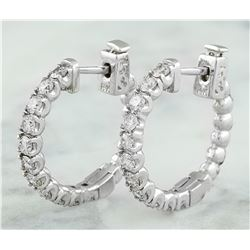 1.10 CTW 14K White Gold Diamond Hoop Earrings