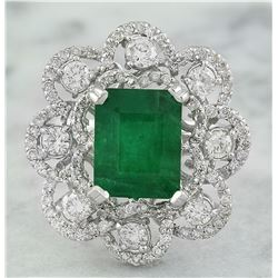 4.70 CTW Emerald 14K White Gold Diamond Ring