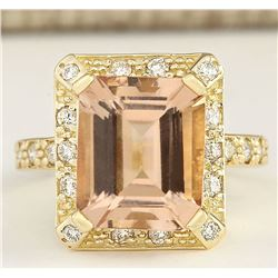 6.03 CTW Natural Morganite And Diamond Ring In 18K Solid Yellow Gold
