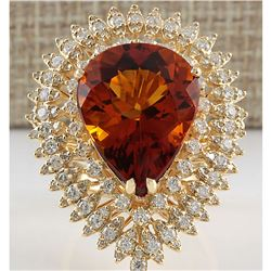 17.40 CTW Natural Madeira Citrine And Diamond Ring 18K Solid Yellow Gold