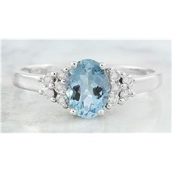 1.85 CTW Topaz 18K White Gold Diamond Ring