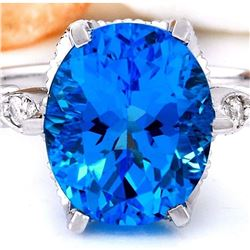 4.95 CTW Natural Topaz 18K Solid White Gold Diamond Ring