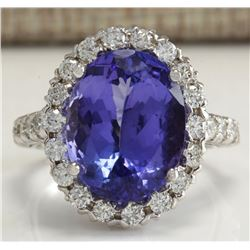 9.39 CTW Natural Tanzanite And Diamond Ring 18K Solid White Gold