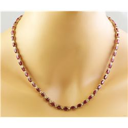 33.31 CTW Ruby 14K Yellow Gold Diamond Necklace