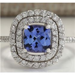 2.20 CTW Natural Blue Tanzanite And Diamond Ring In 18K White Gold