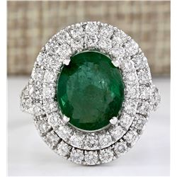 4.69 CTW Natural Emerald And Diamond Ring In 18K White Gold