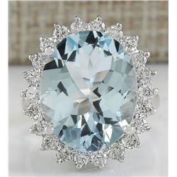 11.26 CTW Natural Aquamarine And Diamond Ring In 18K Solid White Gold