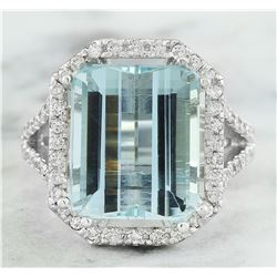 10.30 CTW Aquamarine 18K White Gold Diamond Ring
