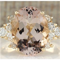 5.00 CTW Natural Morganite And Diamond Ring In 18K Solid Yellow Gold
