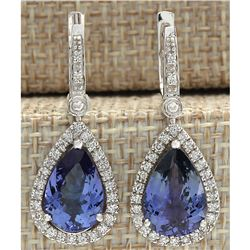 6.65 CTW Natural Tanzanite And Diamond Earrings 18K Solid White Gold