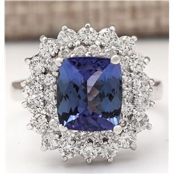 4.56 CTW Natural Blue Tanzanite And Diamond Ring 18K Solid White Gold