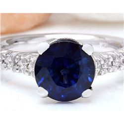 3.15 CTW Natural Sapphire 18K Solid White Gold Diamond Ring