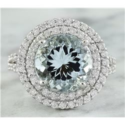 5.55 CTW Aquamarine 18K White Gold Diamond Ring