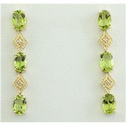 2.65 CTW Peridot 14K Yellow Gold Diamond Earrings