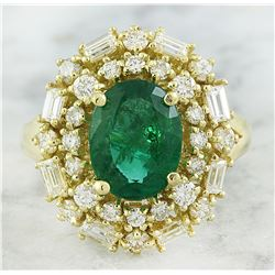 3.73 CTW Emerald 14K Yellow Gold Diamond Ring