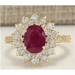 3.28 CTW Natural Ruby And Diamond Ring In 18K Yellow Gold