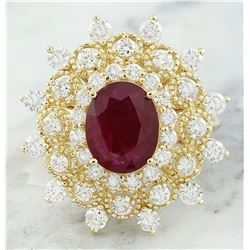 3.96  CTW Ruby 14K Yellow Gold Diamond Ring