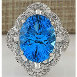 12.00 CTW Natural Topaz And Diamond Ring In 14K White Gold