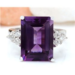 7.55 CTW Natural Amethyst 18K Solid White Gold Diamond Ring