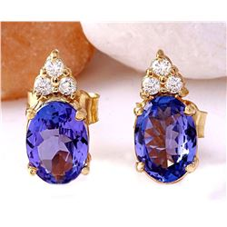 1.65 CTW Natural Tanzanite 18K Solid Yellow Gold Diamond Stud Earrings