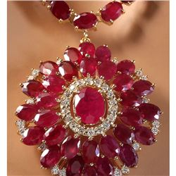 65.00 CTW Natural Ruby And Diamond Necklace In 14K Yellow Gold