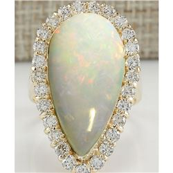 9.39 CTW Natural Opal And Diamond Ring 18K Solid Yellow Gold
