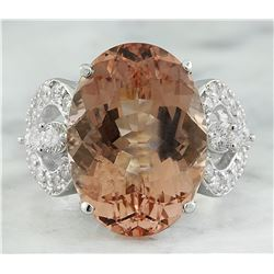 13.95 CTW Morganite 18K White Gold Diamond Ring