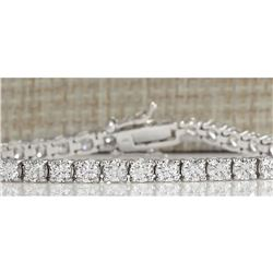 6.96 CTW Natural Diamond Bracelet In 18K Solid White Gold