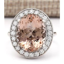 9.29 CTW Natural Morganite And Diamond Ring In 14k White Gold