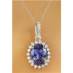 3.72 CTW Tanzanite 14K white Gold Diamond Necklace