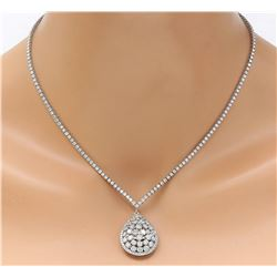 7.80 CTW Natural Diamond 18K Solid White Gold Necklace