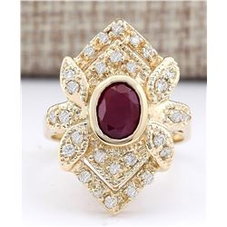 1.75 CTW Natural Ruby And Diamond Ring In 14k Yellow Gold