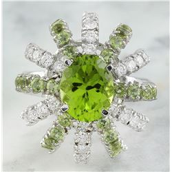 4.80 CTW Peridot 18K White Gold Diamond Ring