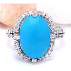 5.52 CTW Natural Turquoise 18K Solid White Gold Diamond Ring