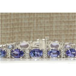 15.95 CTW Natural Tanzanite And Diamond Bracelet In 14K Solid White Gold