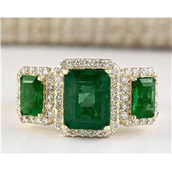 4.56 CTW Natural Emerald And Diamond Ring In 14k Yellow Gold