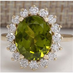 5.53 CTW Natural Green Peridot And Diamond Ring 18K Solid Yellow Gold