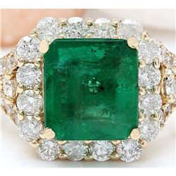 4.39 CTW Natural Emerald 18K Solid Yellow Gold Diamond Ring