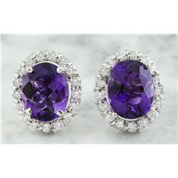 3.79 CTW Amethyst 14K White Gold Diamond Earrings