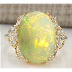 5.84 CTW Natural Opal And Diamond Ring In 18K Yellow Gold