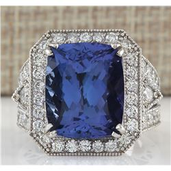 14.12 CTW Natural Tanzanite And Diamond Ring In 14K White Gold