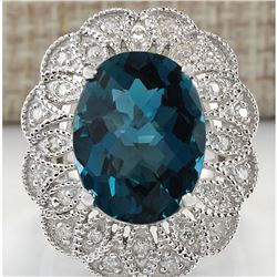 11.45 CTW Natural London Blue Topaz And Diamond Ring In 18K White Gold